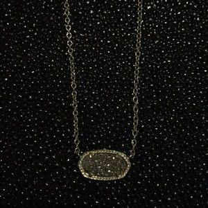 Elisa Gold Pendant in Platinum Druzy